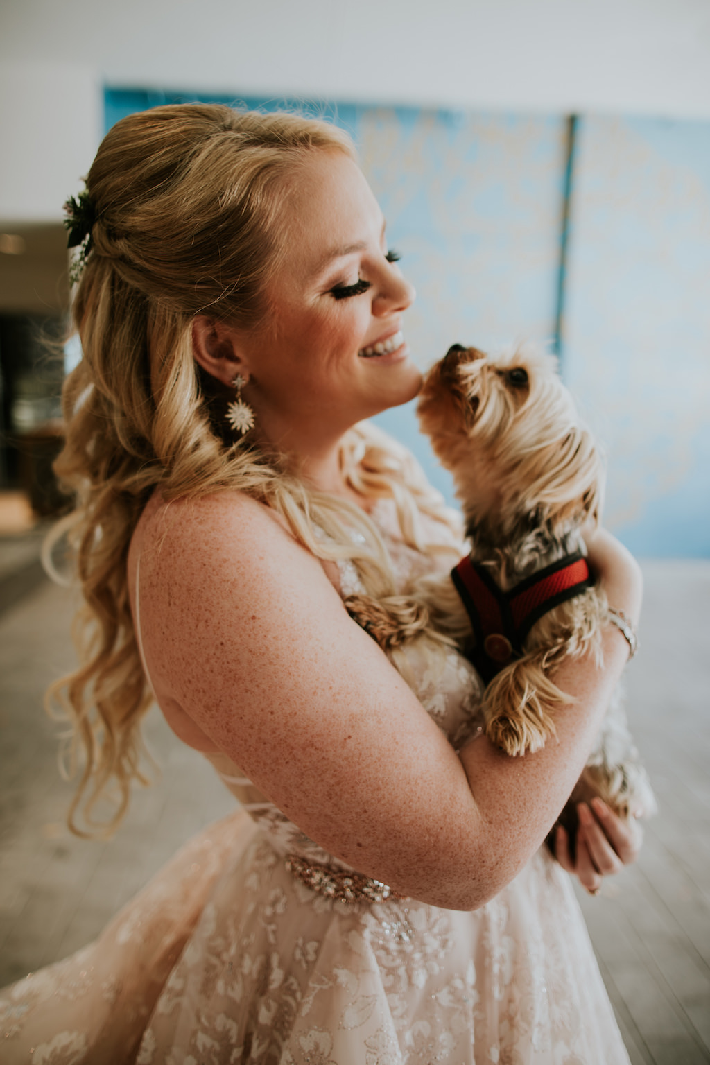 Tampa Bay Bride Beauty Wedding Portrait with Yorkie Dog Kissing
