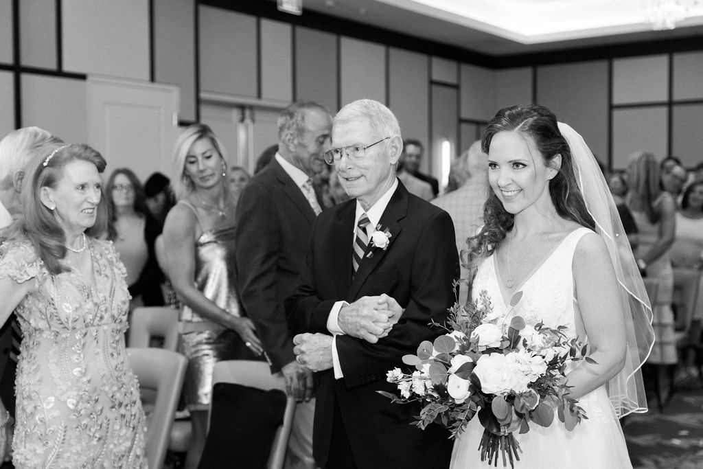 Classic Florida Bride Walking Down the Aisle with Father Wedding Portrait
