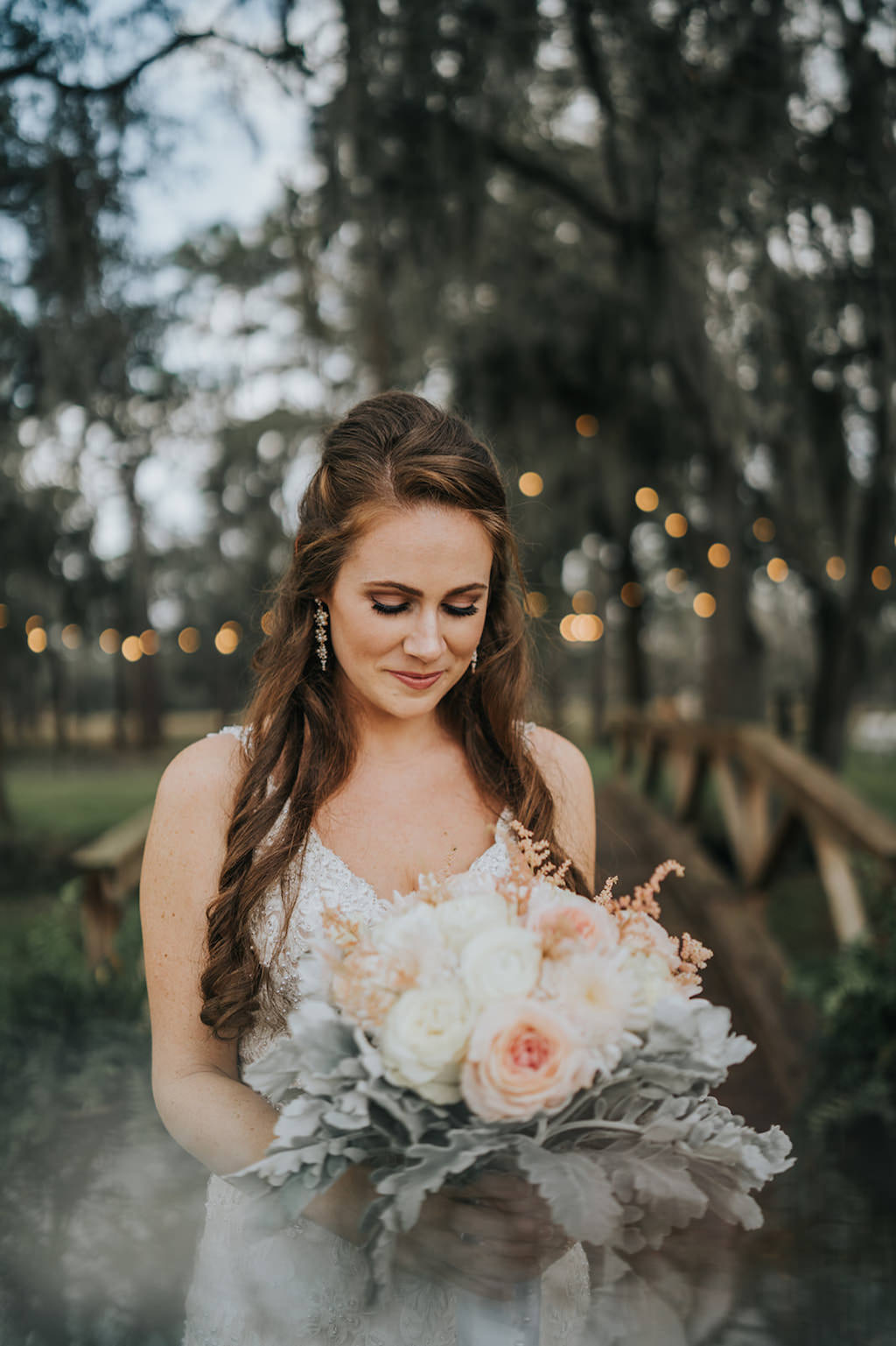 Rustic Chic Tampa Bride Beauty Wedding Portrait Holding Blush Pink and White Roses with Dusty Miller Floral Bridal Bouquet