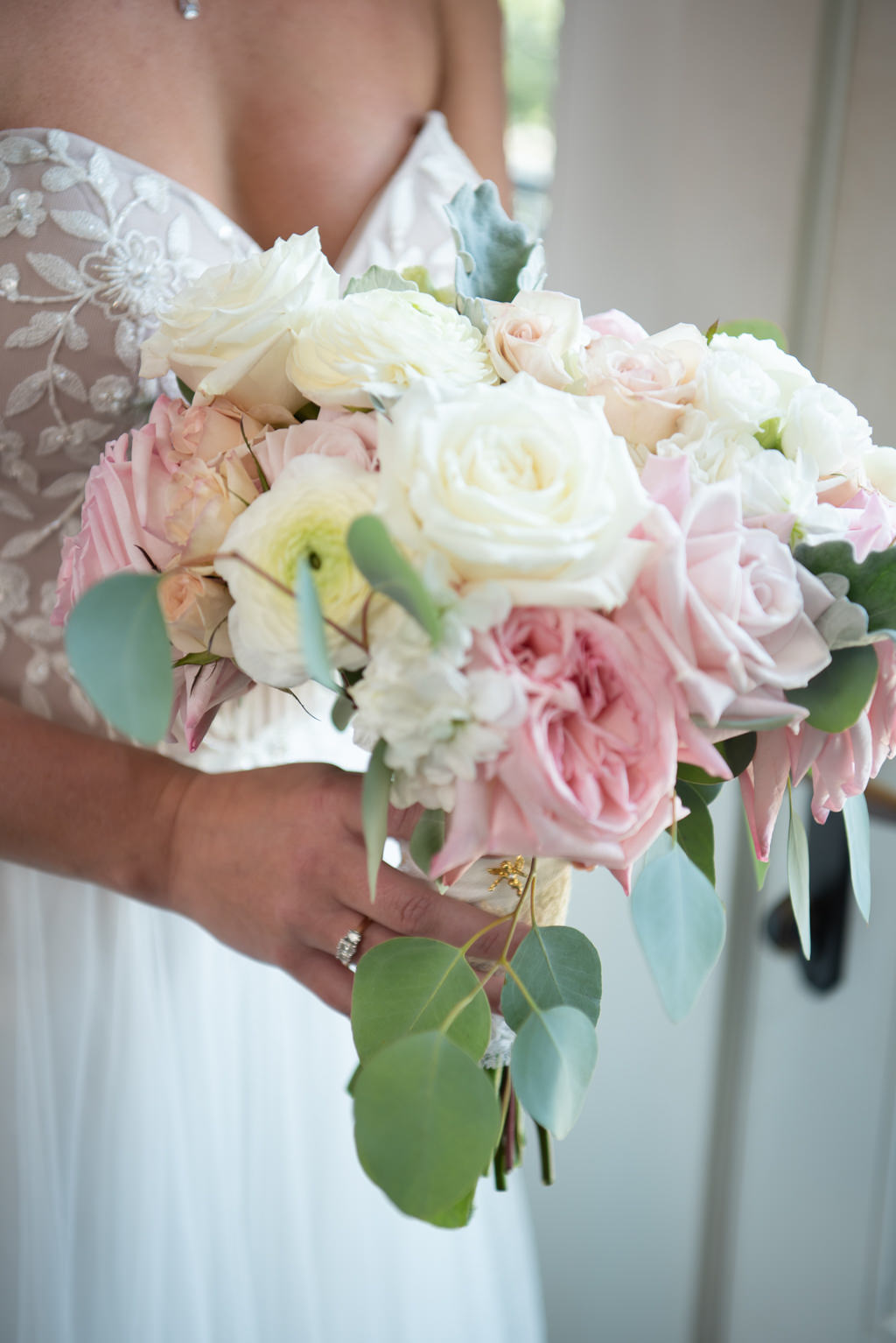 Classic Summer Bridal Bouquet Blush Pink Roses, Ivory Florals, White Flowers and Greenery   Tampa Bay Wedding Planner Coastal Coordinating