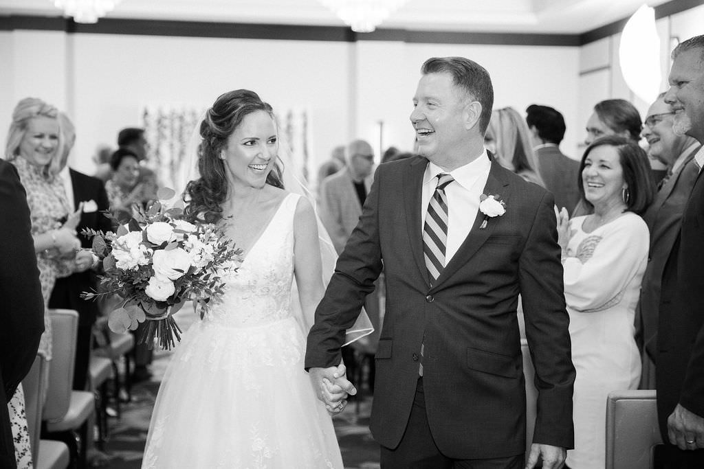 Classic Tampa Bay Bride and Groom Recessional Wedding Ceremony Exit Portrait