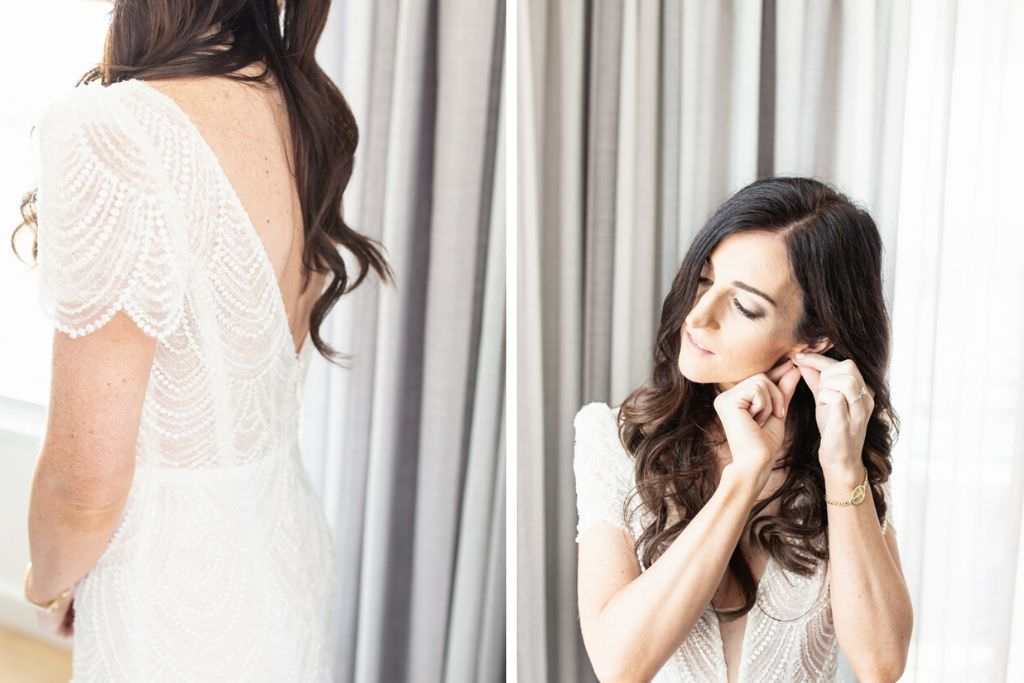Tampa Bride Getting Ready Beauty Wedding Portrait, Delicate Cap Sleeve Open Back Fitted Wedding Dress with Loose Waves Hair Down Bridal Style   Wedding Hair and Makeup Femme Akoi