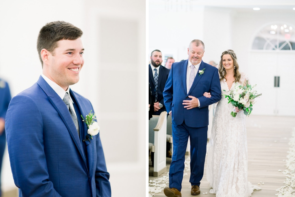 Boho Inspired Florida Bride and Father Walking Down the Aisle, Tampa Groom Sees Bride For the First Time | Tampa Bay Wedding Photographers Shauna and Jordon Photography