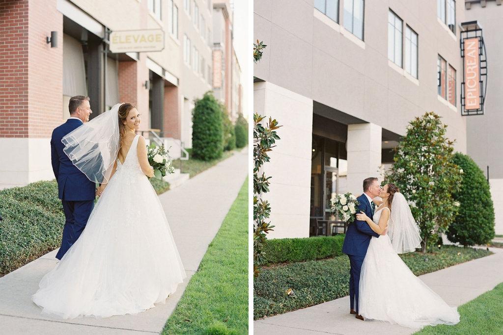 Classic Elegant Bride and Groom Outdoor Wedding Portrait | South Tampa Wedding Venue The Epicurean Hotel