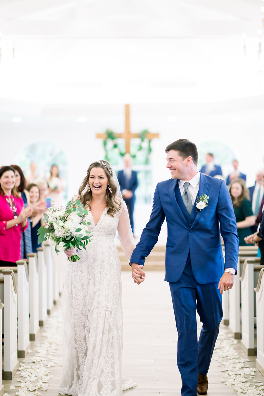 Boho Inspired Florida Bride and Groom Just Married at Wedding Recessional Down the Aisle Portrait | Tampa Bay Wedding Ceremony Venue Harborside Chapel | Tampa Bay Wedding Photographers Shauna and Jordon Photography