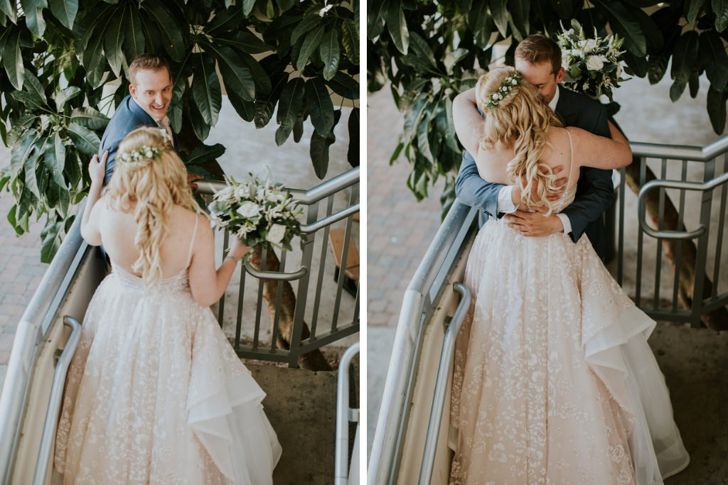 Florida Bride and Groom First Look Wedding Portrait, Bride in Lace and Tulle Open Back Ballgown Wtoo Watters Wedding Dress and White and Greenery Floral Bridal Bouquet