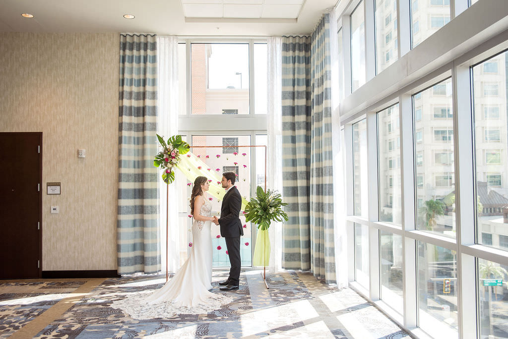 St. Pete Bride and Groom Indoor Wedding Ceremony Portrait | Downtown St. Pete Wedding Venue Hyatt Place St. Petersburg Downtown
