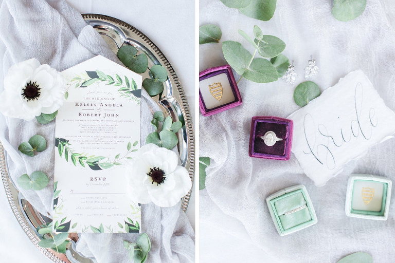 Elegant, Garden Inspired Wedding Invitation with White Hibiscus, Greenery, Eucalyptus Leaves, Purple The Mrs. Ring Box, Oval Diamond Engagement Ring with Halo | Tampa Bay Luxury Wedding Photographers Shauna and Jordon Photography