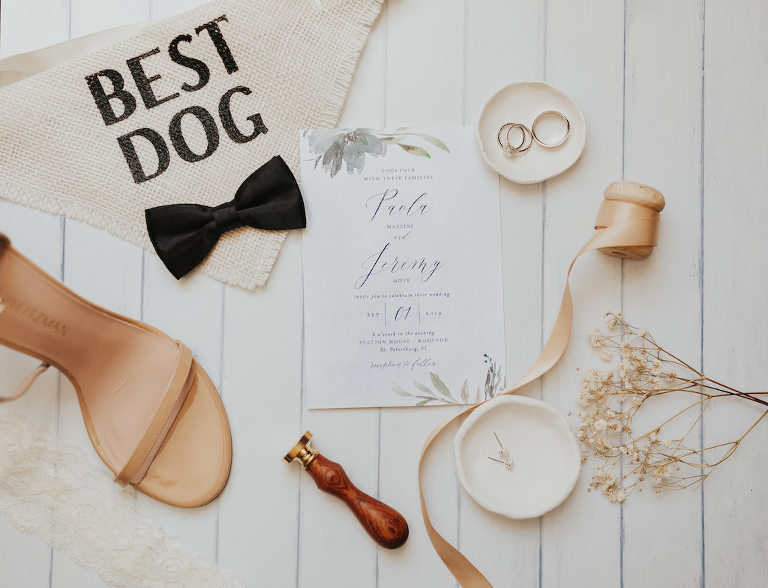 Blue and White with Painted Greenery Wedding Invitation, Wedding Rings, Burlap Dog Bandana with Bowtie, Tan Strappy Sandal Wedding Shoe