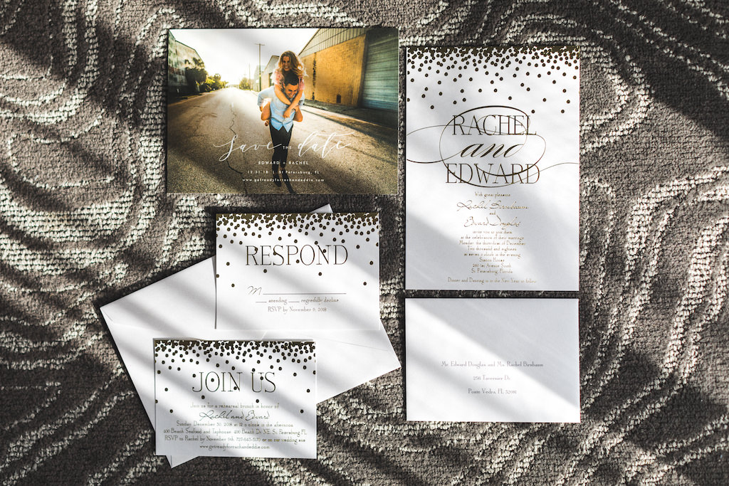Glitz and Glam Modern White and Gold Foil Metallic Wedding Invitation Suite and Custom Photo Save the Date