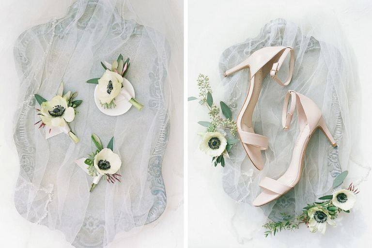 Elegant Wedding Style, Antique Silver Tray with White Anemone Flowers, Nude Strappy Sandal Wedding Bridal Shoes