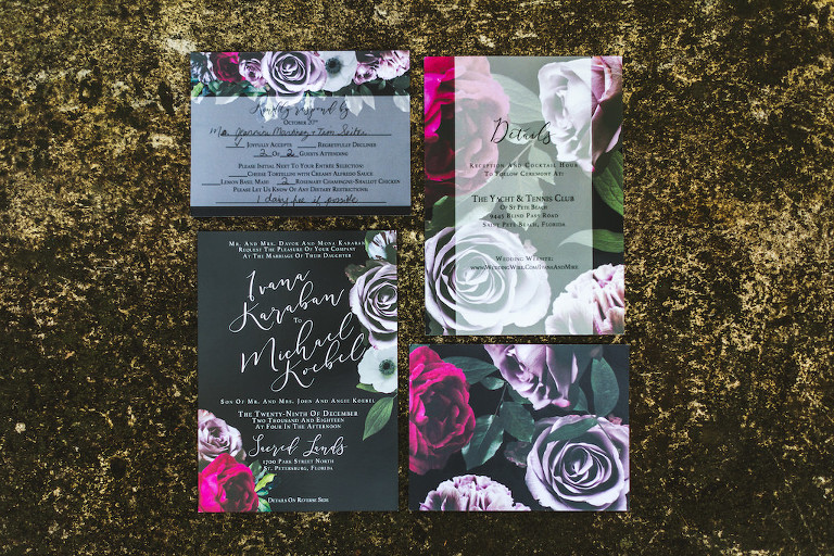 Classy Boho Black with Pink and Purple Rose Floral Wedding Invitation Suite