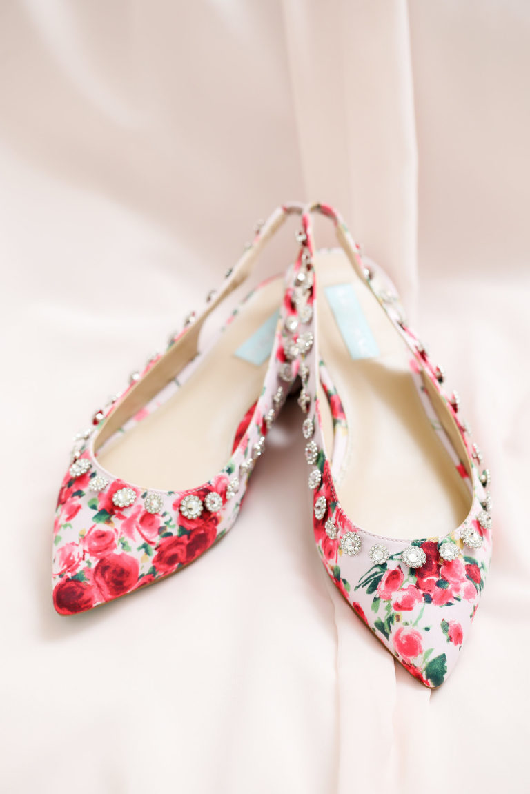 Pink and White Floral Pointed Toe Elastic Heel Strap with Rhinestones
