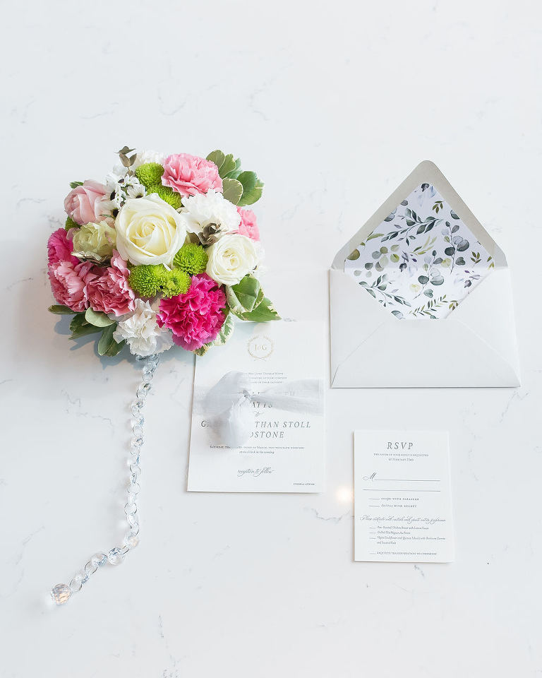 Classic Elegant Floral Envelope Liner, Grey and White Modern Wedding Invitation Suite, Colorful Pink, Blush Pink, Ivory Rose and Greenery Floral Bridal Bouquet with Crystals | St. Pete Wedding Photographer Kristen Marie Photography | Downtown St. Pete Wedding Florist Brides N Blooms | Wedding Stationery and Invitations A&P Design Co