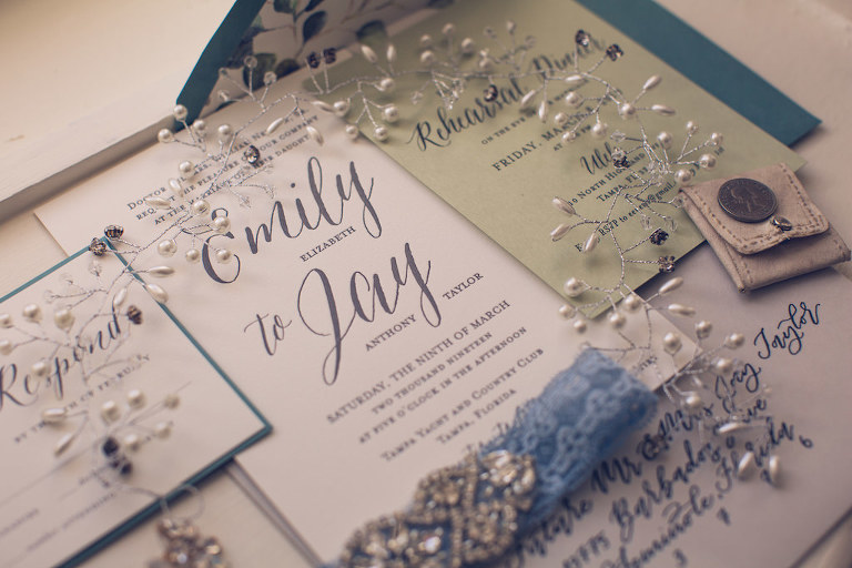 Simple Rustic-Chic Inspired Silver Gray Wedding Invitation Suite, Blue Lace Garter | Tampa Bay Stationery Design A&P Design Co | Florida Luxury Wedding Photographer Luxe Light Images