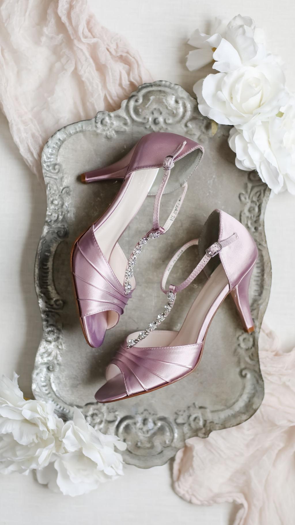 Lilac Silk Peep Toe with Rhinestone Strap Bridal Wedding Shoes | Tampa Wedding Photographer Lifelong Photography Studio