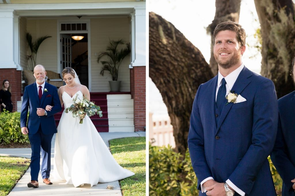 Tampa Bay Bride Walking with Father Processional, Groom Reaction to Bride Portrait