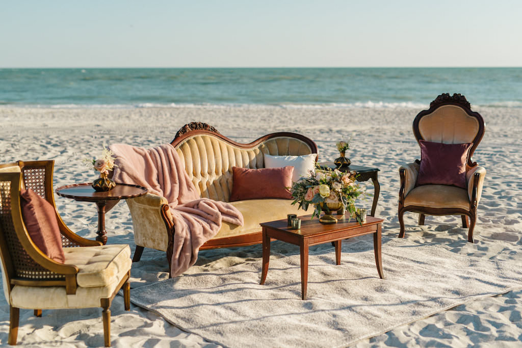 Outdoor Beachfront Reception Seating Area with Vintage Wooden Furniture | Resort at Longboat Key Club