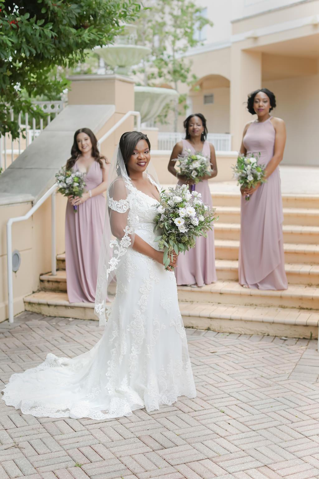 Bride and Bridesmaids Outdoor Wedding Portrait | Largo Wedding Venue The Bayou Club | Tampa Wedding Photographer Lifelong Photography Studio