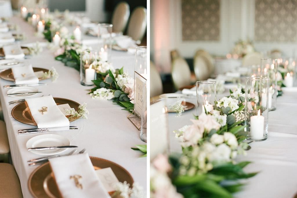 Formal Classic Wedding Reception Decor, Long Feasting Table with White Linens, Gold Chargers, Greenery Garland, White and Blush Pink Florals, Hurricane Glass Candle Holders | Downtown St. Pete Wedding Venue The Birchwood