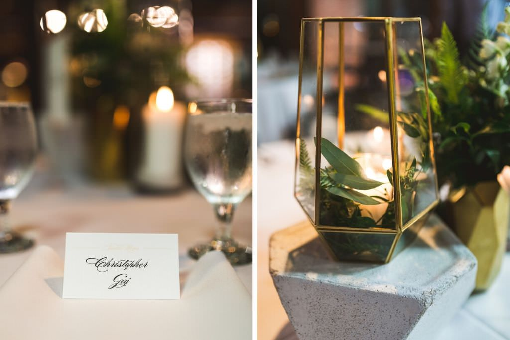 Simple, Elegant White with Black Script Font Seating Place Card, Gold Geometric Vase with Candle