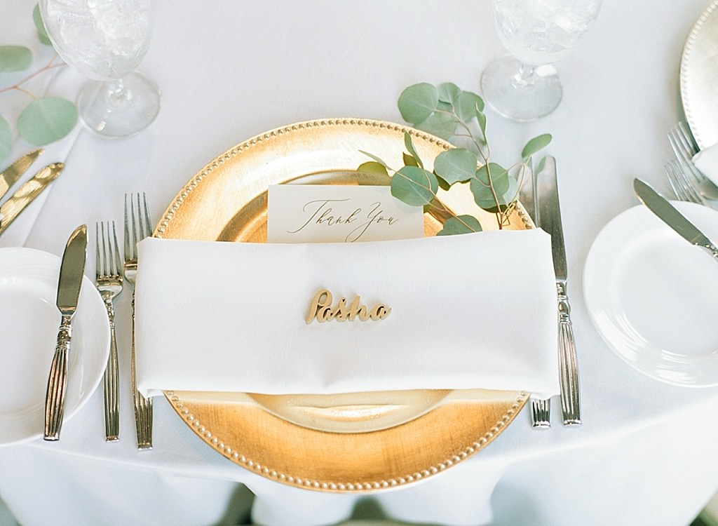 INSTAGRAM Tampa Formal Modern Wedding Reception Decor, Gold Charger, White Linen Napkin, Eucalyptus, Custom Gold Laser Cut Name Sign