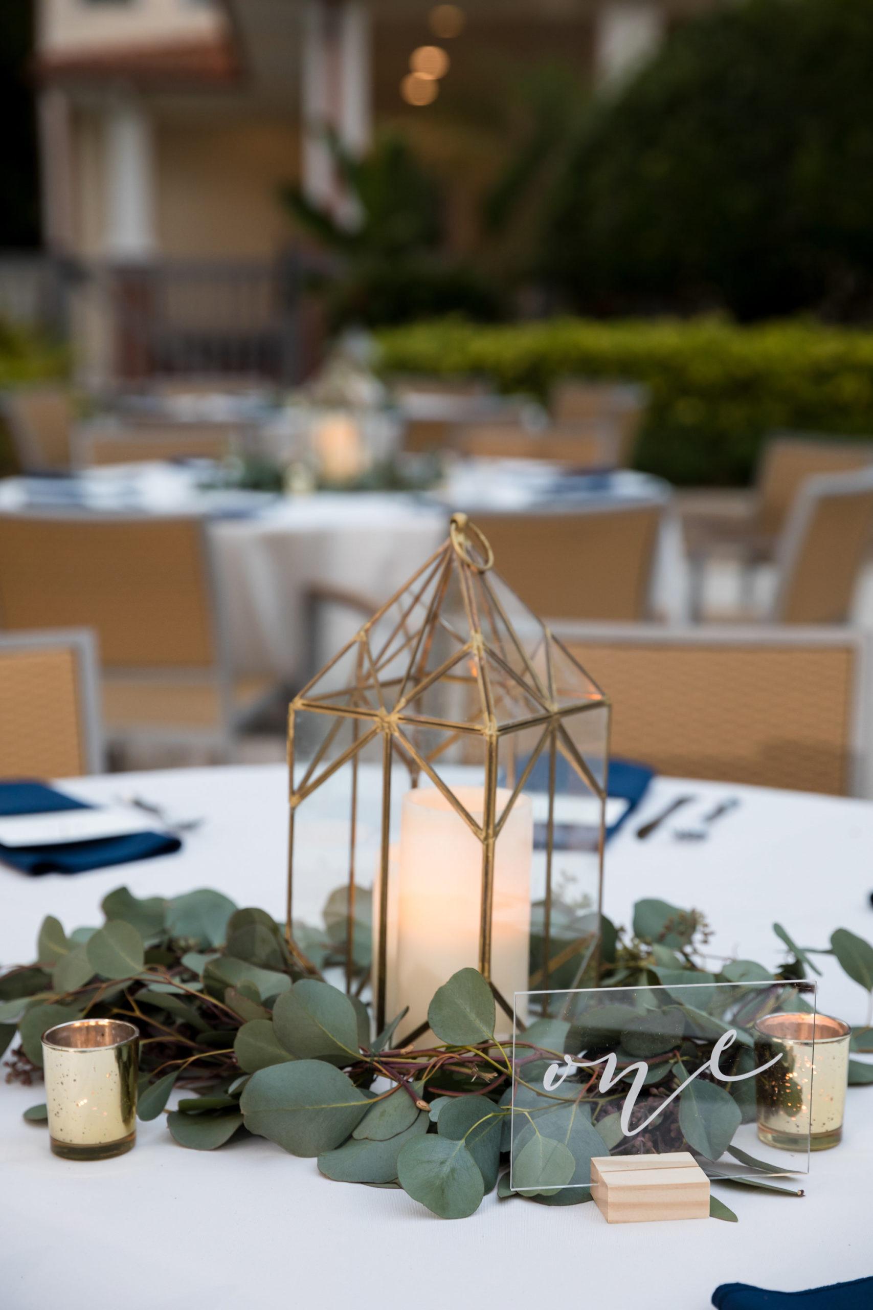 Classic Elegant Wedding Reception Decor, Eucalyptus and Gold Lantern, Acrylic Table Number   Tampa Bay Wedding Planner Coastal Coordinating