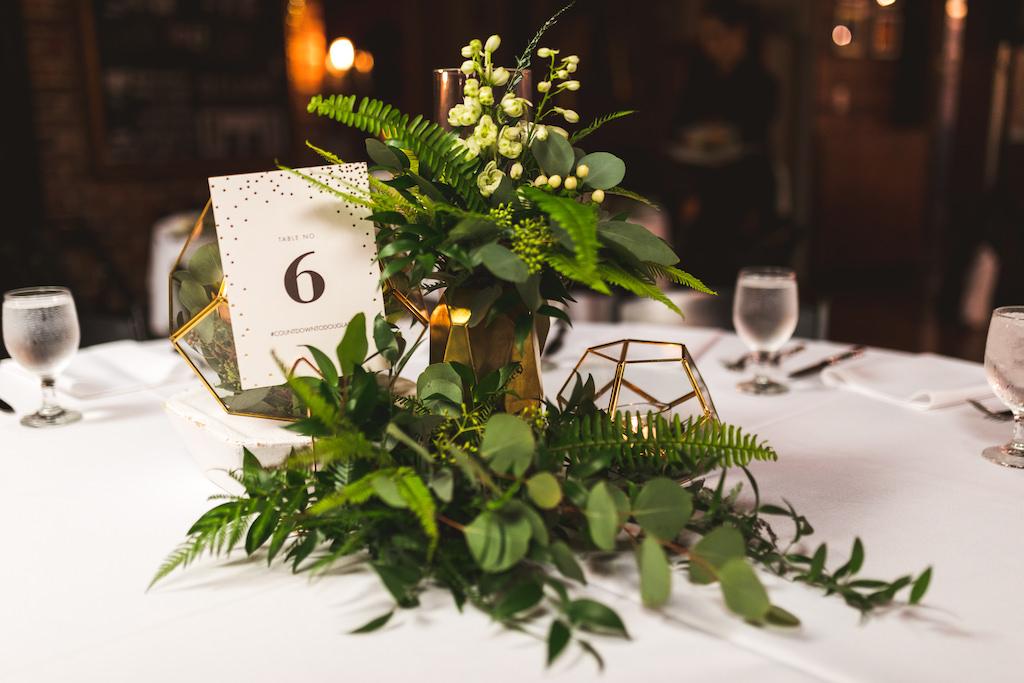 Modern New Years Eve Wedding Reception Decor, Gold Geometric Vases, Greenery Leaf Arrangements