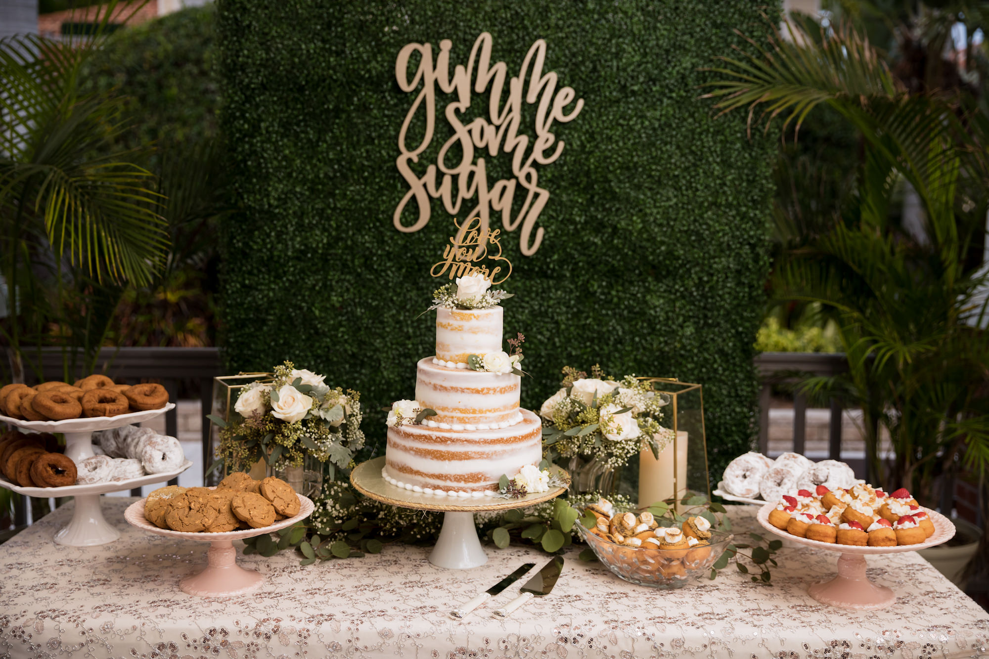 Classic Elegant Wedding Reception Dessert Table, Three Tier Semi Naked Wedding Cake, Donuts, Cookies and Cream Puffs, Ivory Greenery Backdrop with Laser Cut Sign   Tampa Bay Wedding Planner Coastal Coordinating