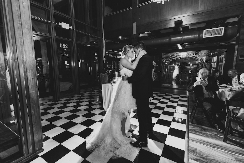 Romantic Black and White Bride and Groom First Dance Wedding Portrait   St. Pete Wedding Venue Station House   Wedding Dress Shop Isabel O'Neil Bridal Collection