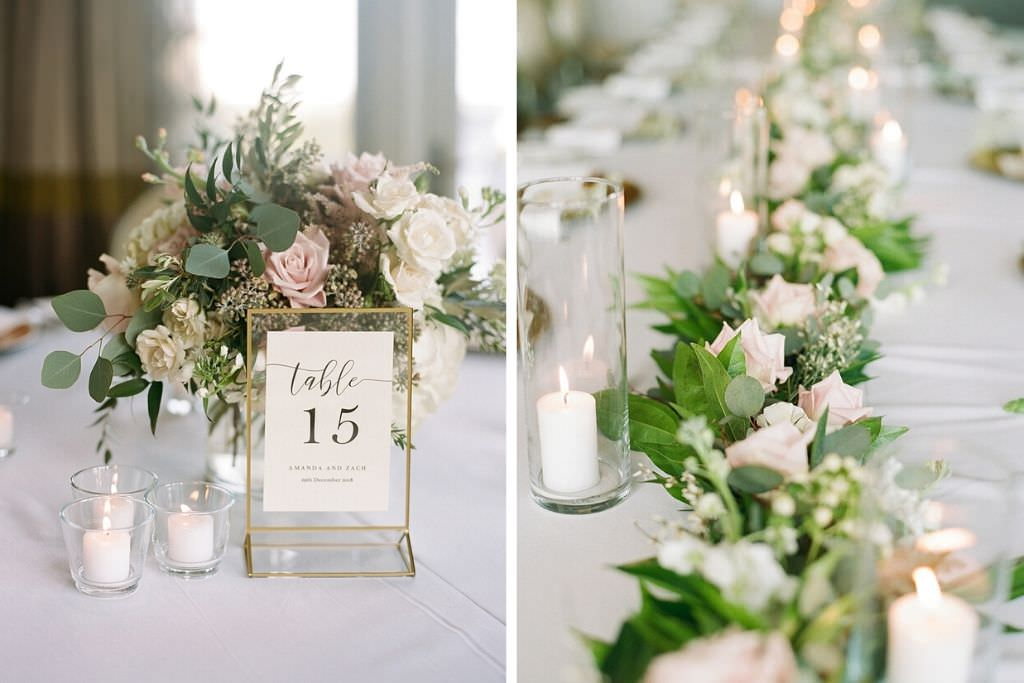 Elegant Modern Wedding Reception Decor, Blush Pink and White Roses, Eucalyptus and Greenery Low Floral Centerpiece, Gold Table Number, Greenery Garland with Ivory Roses, Glass Hurricane Candle Holders