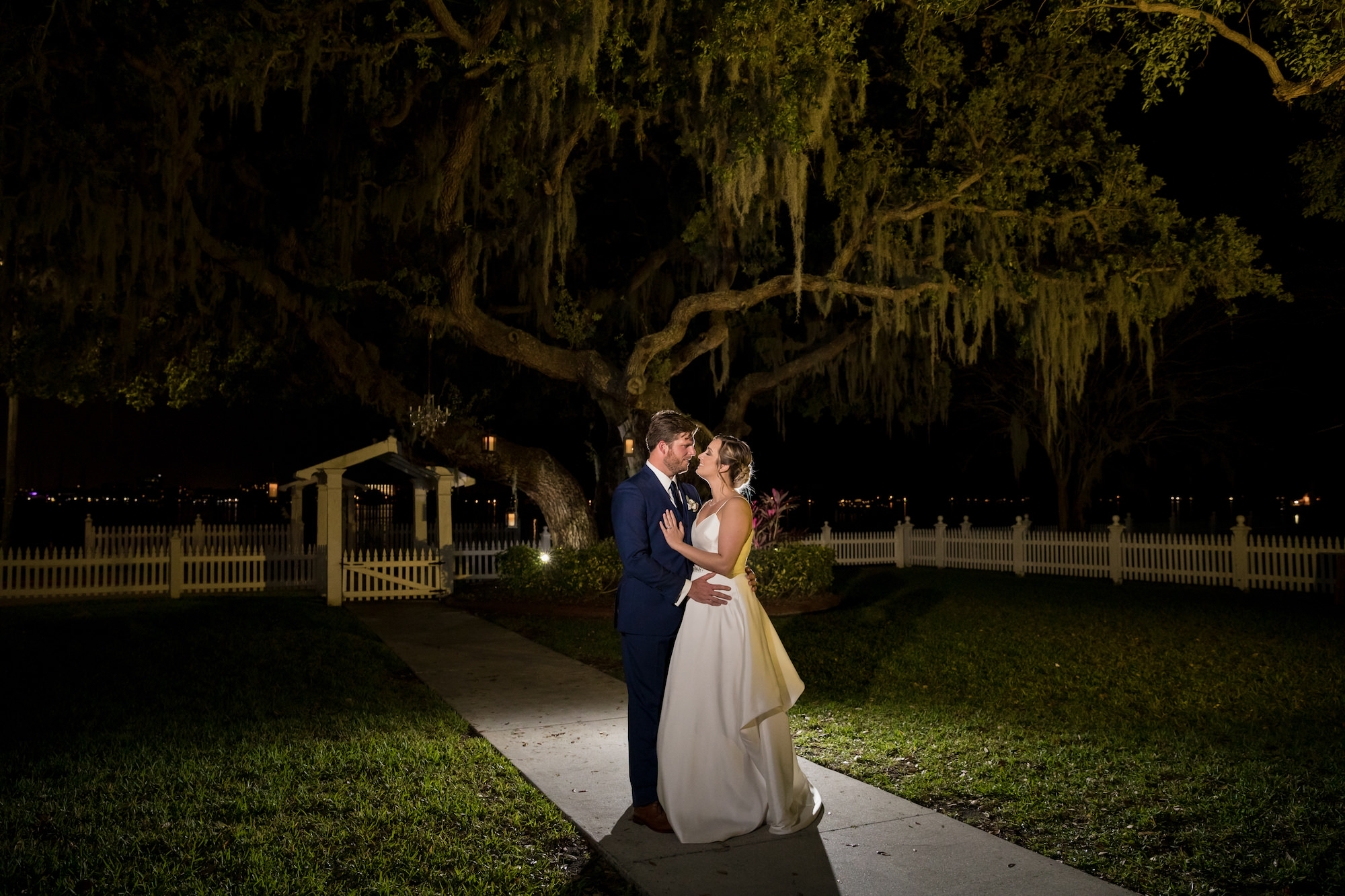 Nighttime Bride and Groom Wedding Portrait   Tampa Bay Waterfront Wedding Venue Palmetto Riverside Bed and Breakfast