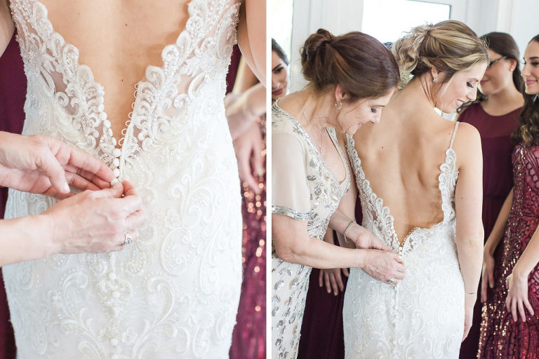 Romantic Florida Bride Getting Ready Photo with Mother, Allure Wedding Dress with Open Back, Lace Detailing | Tampa Bay Wedding Photographers Shauna and Jordon Photography