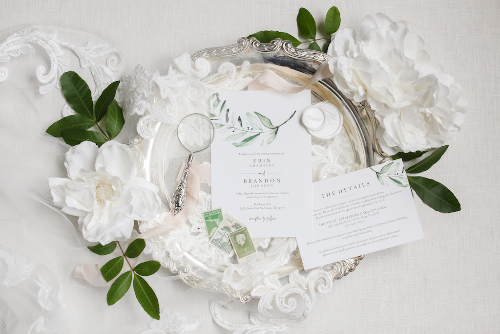 Rustic Chic White and Greenery Watercolor Design Wedding Invitation and Vintage Stamps | Tampa Wedding Photographer Lifelong Photography Studio