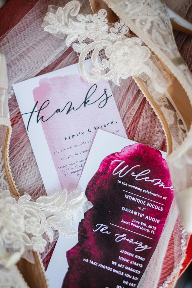 Romantic Wedding Invitation Set, Blush Burgundy Plum Quartz and Magenta Watercolor Design