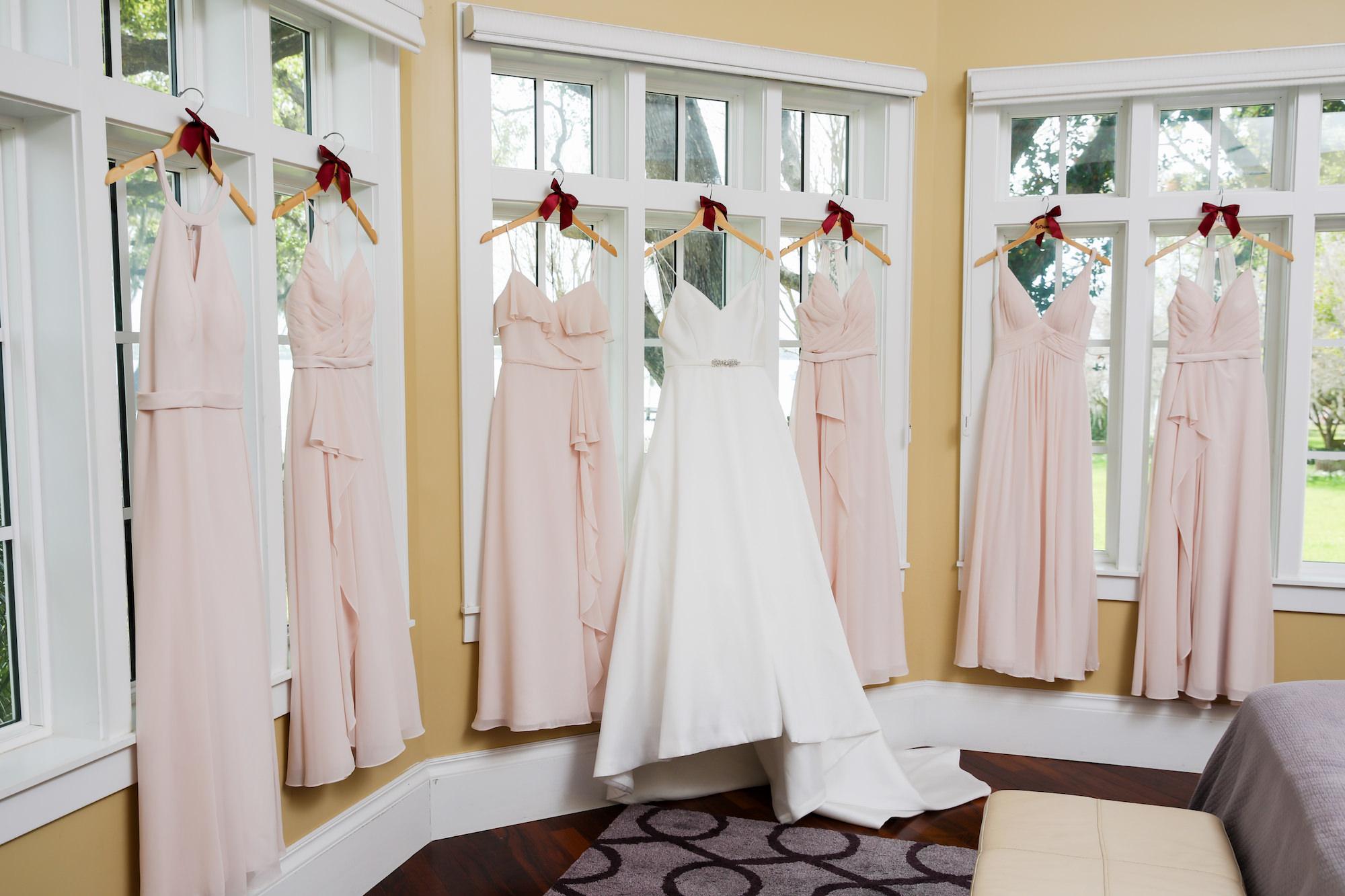Classic A-Line V Neck with Straps and Rhinestone Belt Justin Alexander Wedding Dress, Blush Pink Mix and Match Azazie Bridesmaid Dresses