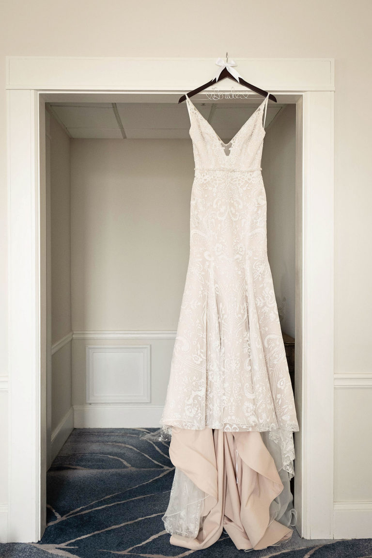 Romantic Hayley Paige Wedding Dress Hanging in Bridal Suite of The Don CeSar in Tampa Bay