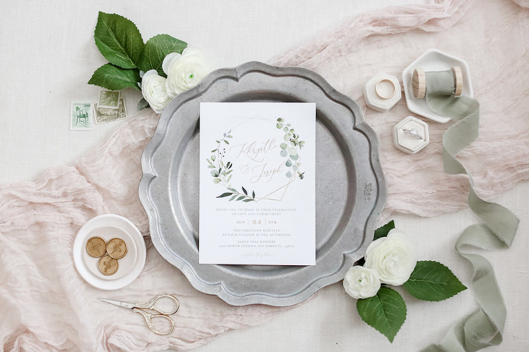 Boho Chic Greenery Watercolor Wedding Invitation on Silver Tray | Tampa Bay Wedding Photographer Lifelong Photography Studio