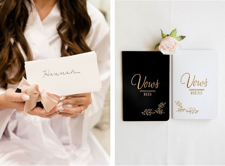 Tampa Wedding Leather Gold Embossed His and Hers Vows Books Bride Gift