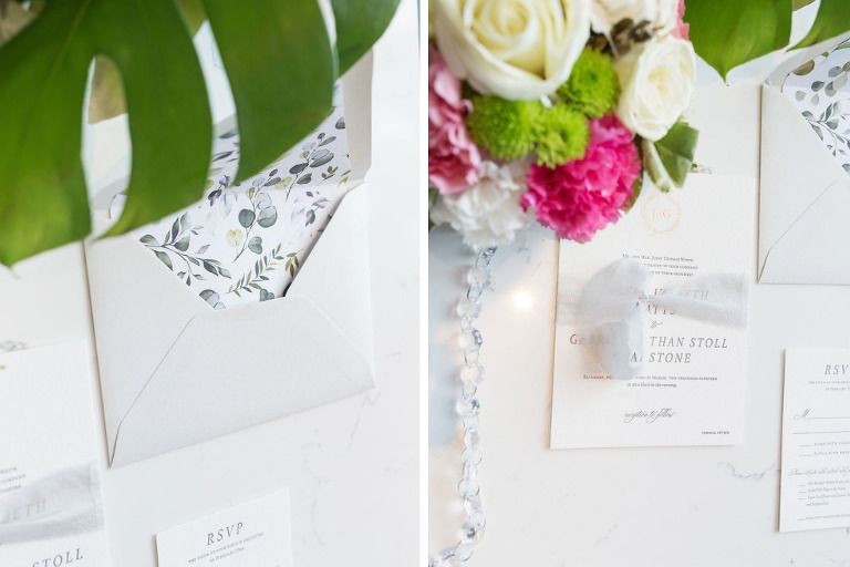 Elegant Classic Floral Envelope Liner, Modern White and Grey Wedding Invitation Suite | Tampa Bay Wedding Photographer Kristen Marie Photography | St. Pete Wedding Stationery and Invitations A&P Design Co