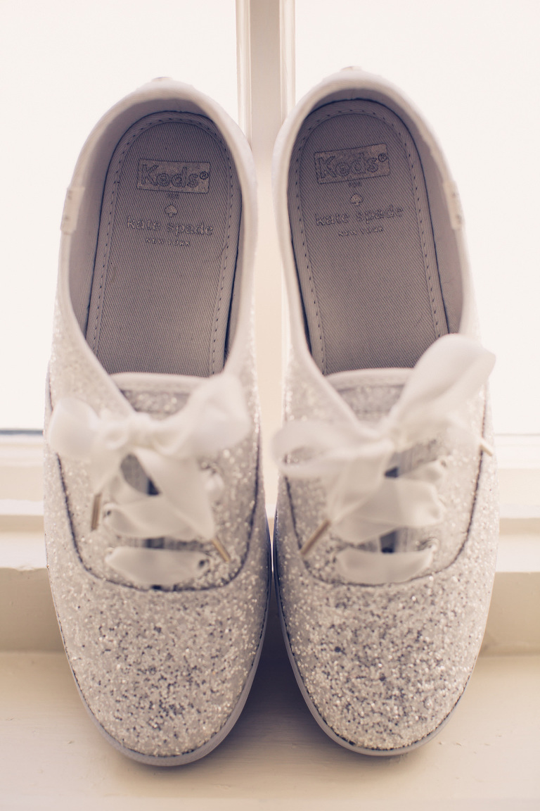 Fun Florida Bride Wedding Shoes, Silver Sparkle Glitter Kate Spade Tennis Shoes | Tampa Bay Wedding Photographer Luxe Light Images