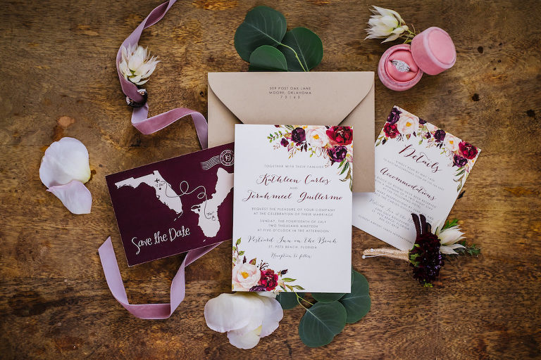 Burgundy and Red Floral Themed Wedding Invitation Suite, Custom State to State Love Illustration Purple Save the Date, Bride Engagement Ring in Velvet Pink Ring Box
