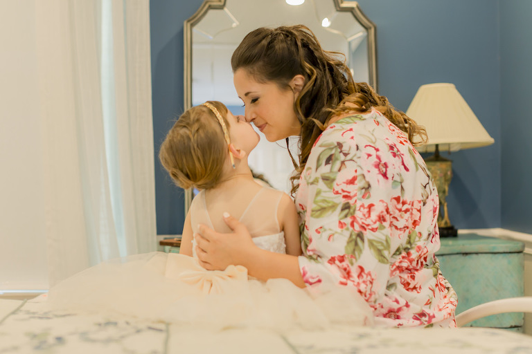 Tampa Bride in Pink Floral Robe and Daughter Flower Girl Sweet Nose to Nose Wedding Portrait | St. Pete Wedding Hair and Makeup LDM Beauty Group