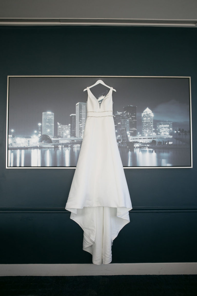 Classic V Neck A-Line Wedding Dress with Rhinestone Beading Accent | Tampa Bridal Wedding Dress Boutique Truly Forever Bridal | Wedding Photographer Carrie Wildes Photography