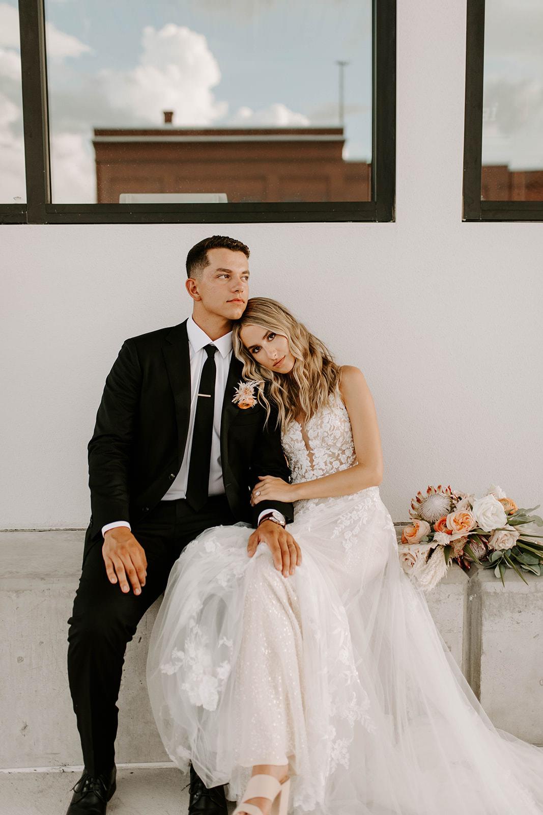 Romantic Boho Bride and Groom Wedding Portrait