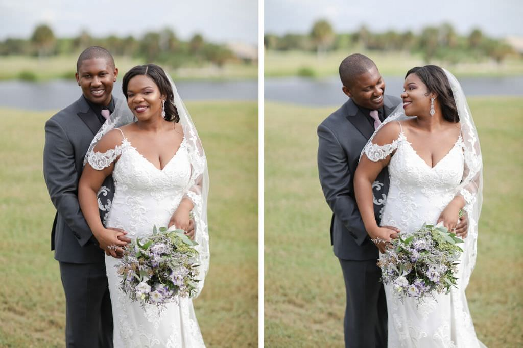 Outdoor Bride and Groom Wedding Portrait | Truly Forever Bridal Tampa Wedding Dress | Tampa Hair and Makeup Michele Renee the Studio | Tampa Wedding Photographer Lifelong Photography Studio | The Bayou Club