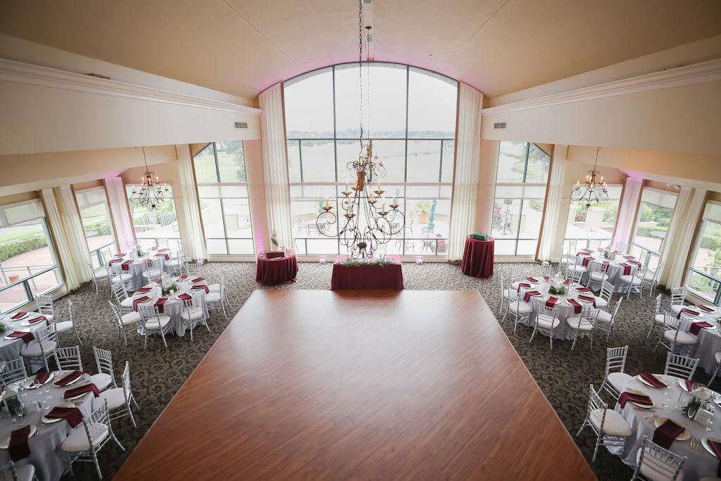 Elegant Golf Course Ballroom Wedding Reception Venue with Floor to Ceiling Windows at The Bayou Club | Tampa Wedding Photographer Lifelong Photography Studio