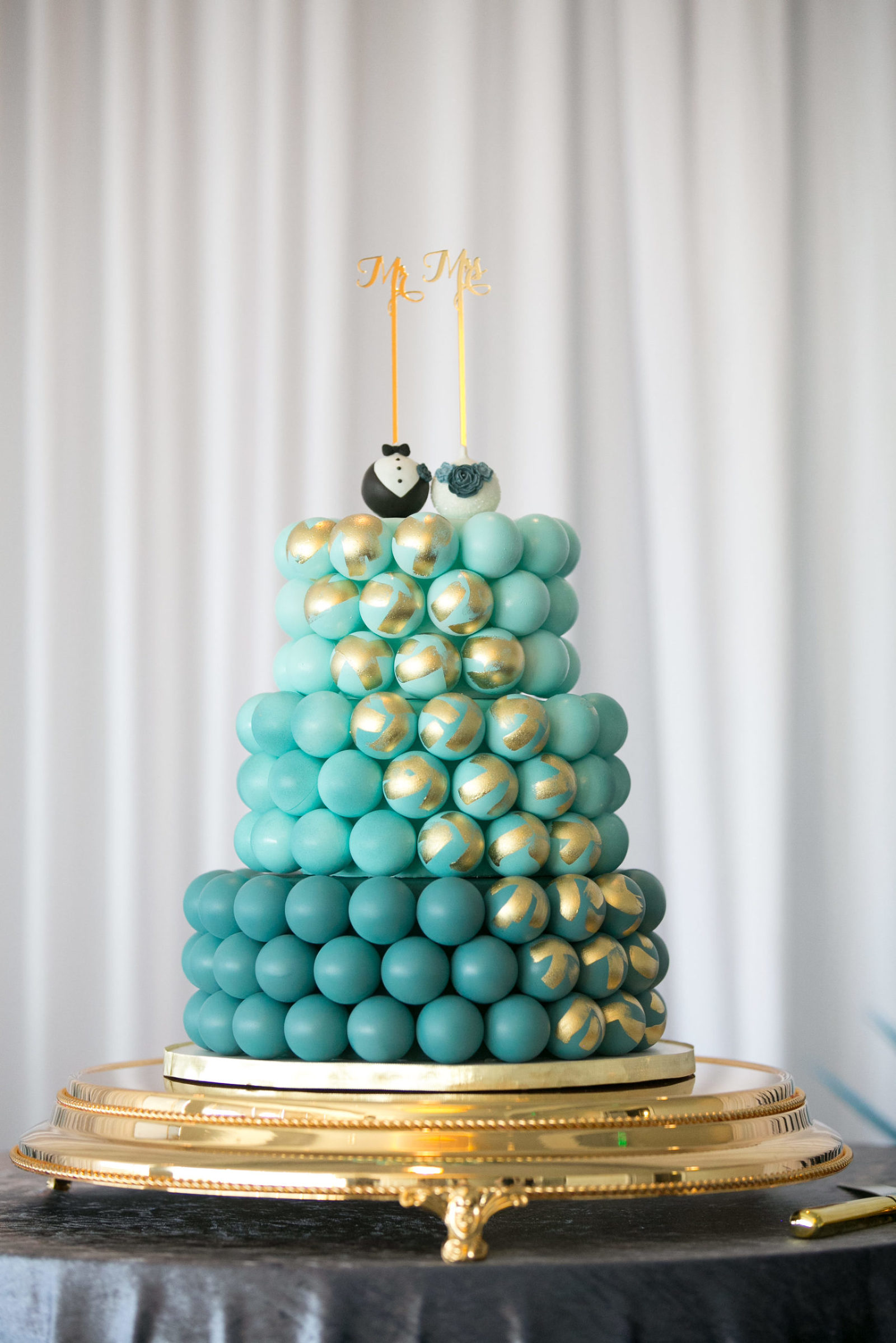 Unique Whimsical Ombre Blue with Gold Accent Three Tier Cake Pop Cake and Bride and Groom Cake Pop Topper | Wedding Cake Pops and Desserts Sweetly Dipped Confections | Wedding Photographer Carrie Wildes Photography | Tampa Wedding Planner John Campbell Weddings