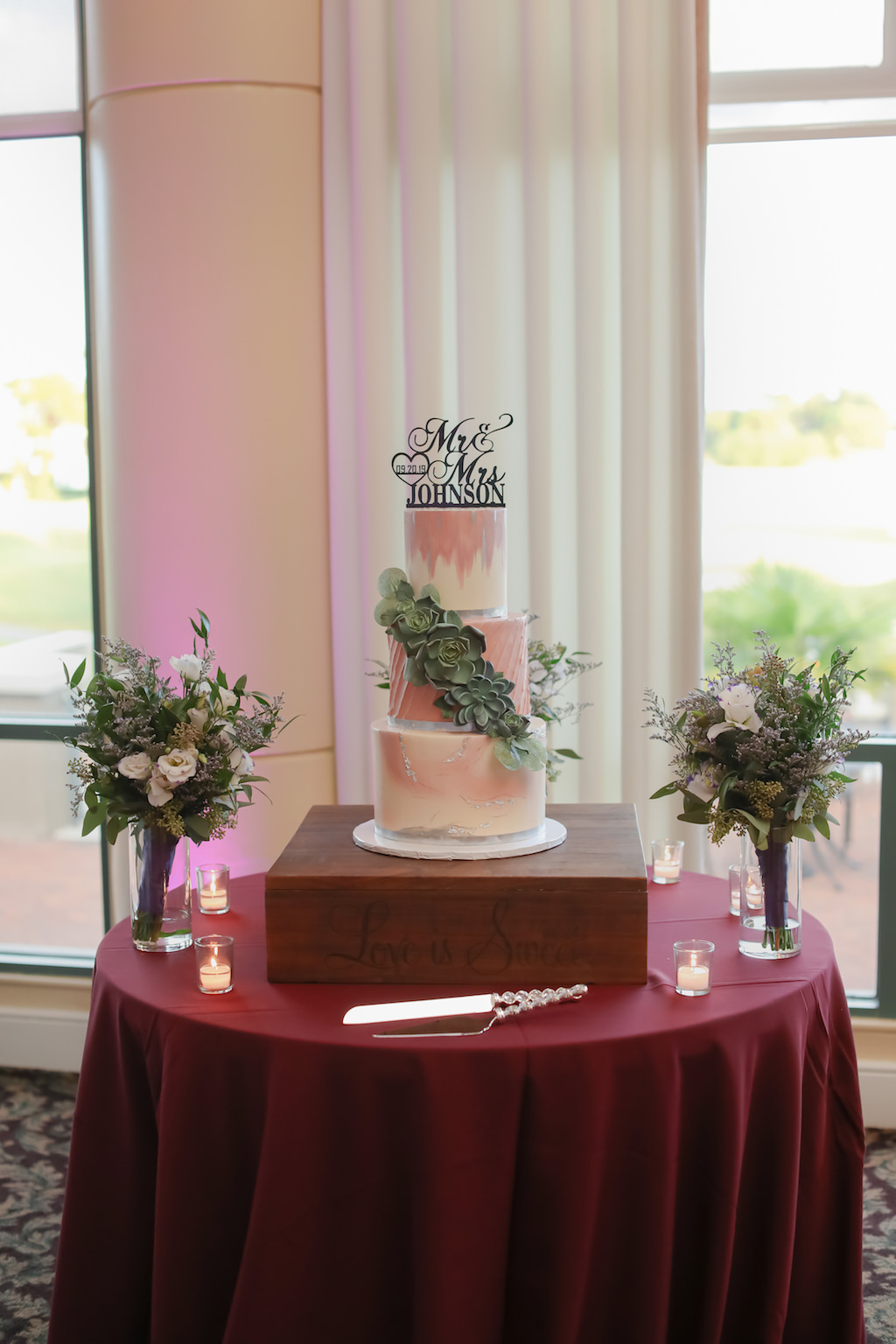 Three-Tiered Round Marble and Magenta Hand Painted Wedding Cake with Succulent Accent | Tampa Bay Wedding Bakery The Artistic Whisk | Tampa Wedding Photographer Lifelong Photography Studio