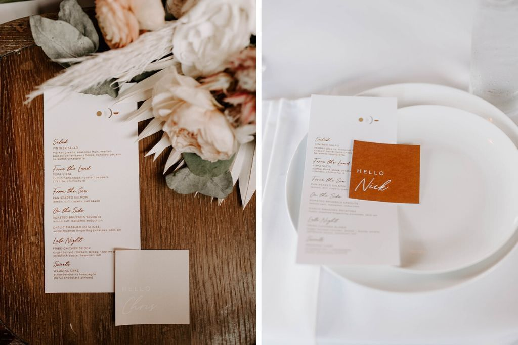 Boho Whimsical Wedding Reception Decor, White Menu and Burnt Orange Place Card   Tampa Bay Wedding Planner Coastal Coordinating